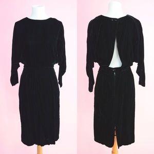 ⭐️ Vintage 80s Black Velvet Backless Party Dress